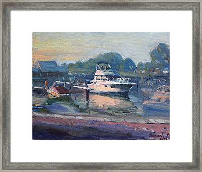 Sunset At Kellys And Jassons Boat Framed Print