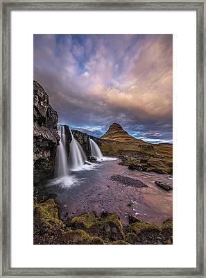 Sunset At Kirkjufellsfoss Framed Print by Roman Kurywczak