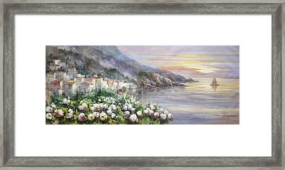 Sunset At Lake Como Framed Print