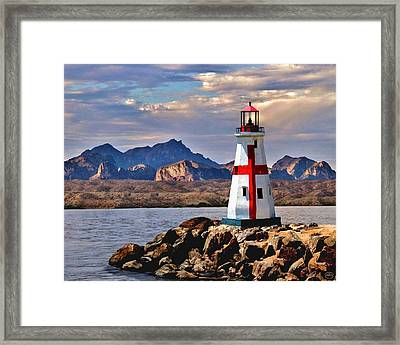 Sunset At Lake Havasu Framed Print by Chambers and  De Forge