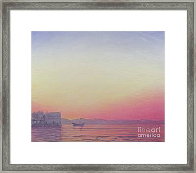 Sunset At Lake Palace, Udaipur Framed Print by Derek Hare