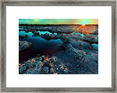 Framed Print featuring the photograph Sunset At Lake Walyungup by Julian Cook