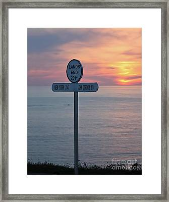 Sunset At Lands End Sign Post Framed Print by Terri Waters