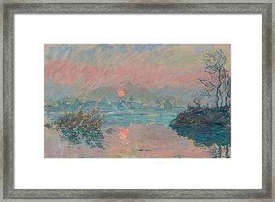 Sunset At Lavacourt Framed Print by Claude Monet