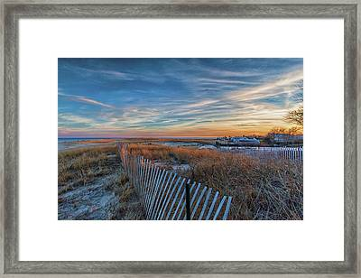Sunset At Lighthouse Beach In Chatham Massachusetts Framed Print
