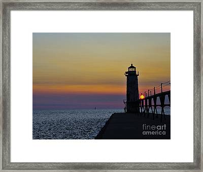 Sunset At Manistee North Pierhead Lighthouse   Framed Print by Terri Gostola