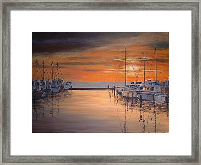 Sunset At Marina Framed Print