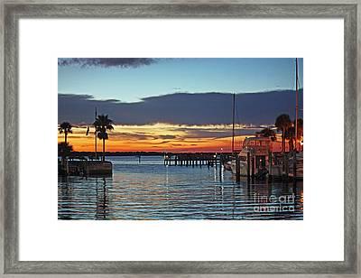 Sunset At Marina Plaza Dunedin Florida Framed Print
