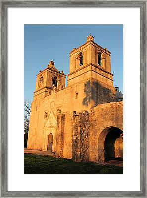 Sunset At Mission Concepcion Framed Print