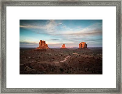 Sunset At Monument Valley Framed Print by James Udall