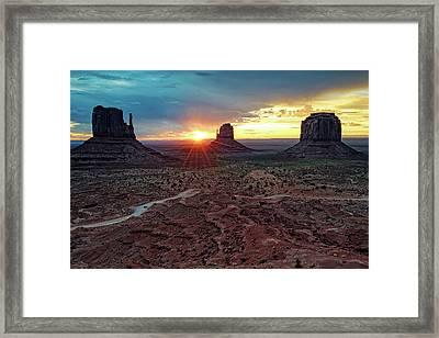Sunset At Monument Valley Navajo Tribal Park Three Mittens Arizona Framed Print