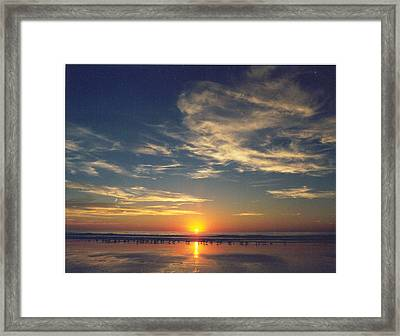 Sunset At Moonlight Beach Framed Print by PJ  Cloud