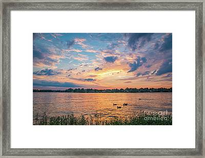 Framed Print featuring the photograph Sunset At Morse Lake by Sophie Doell