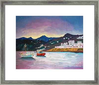 Sunset At Mykonos Framed Print