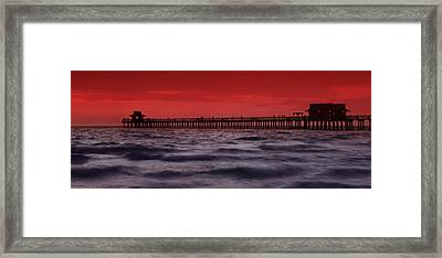 Sunset At Naples Pier Framed Print