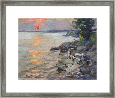 Sunset At Niagara River Framed Print by Ylli Haruni
