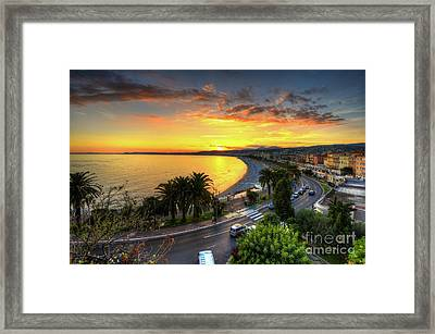 Framed Print featuring the photograph Sunset At Nice by Yhun Suarez