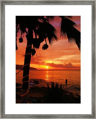 Sunset At Off The Wall Framed Print by Linda Morland