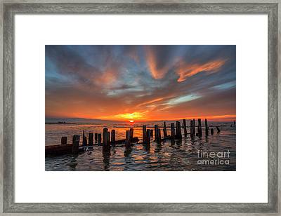 Framed Print featuring the photograph Sunset At Old Saltair Piers by Spencer Baugh