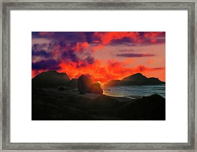 Sunset At Oregon Beach Framed Print