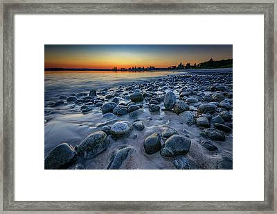 Sunset At Pemaquid Beach Framed Print by Rick Berk