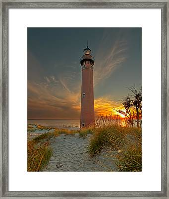Framed Print featuring the photograph Sunset At Petite Pointe Au Sable by Susan Rissi Tregoning