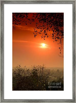 Sunset At Phnom Bakheng Of Angkor Wat Framed Print