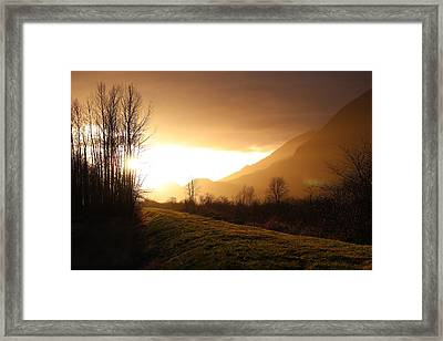 Sunset At Pitt Lake Dyke Framed Print