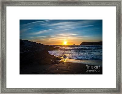 Sunset At Polzeath, Cornwall, Uk Framed Print by Amanda Elwell