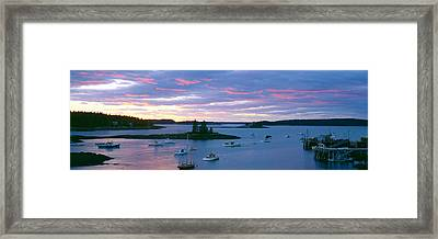 Sunset At Port Clyde Lobster Village Framed Print by Panoramic Images