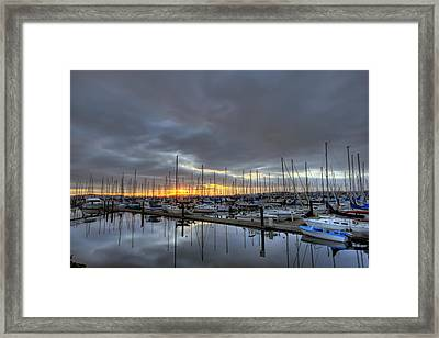 Sunset At Port Gardner Framed Print