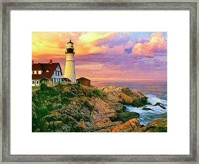 Sunset At Portland Head Framed Print by Dominic Piperata