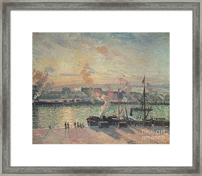 Sunset At Rouen Framed Print by Camille Pissarro