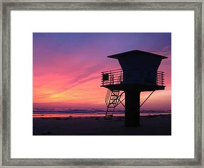Sunset At San Elijo Framed Print by Eric Foltz