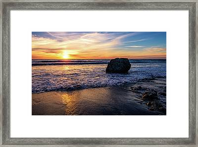 Sunset At San Simeon Beach Framed Print