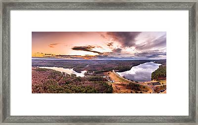 Framed Print featuring the photograph Sunset At Saville Dam - Barkhamsted Reservoir Connecticut by Petr Hejl