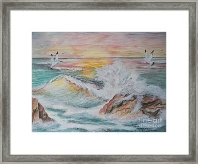 Sunset At Sea Framed Print by Carol Grimes