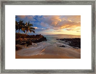 Sunset At Secret Beach Framed Print