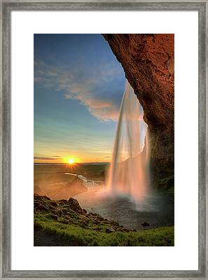 Sunset At Seljalandsfoss Framed Print by Peter OReilly