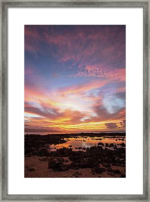 Sunset At Shark's Cove Framed Print by Angie Schutt