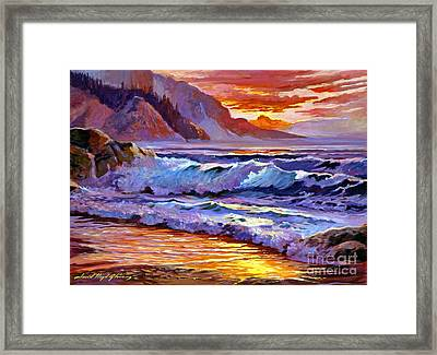 Sunset At Shipwreck Beach Framed Print