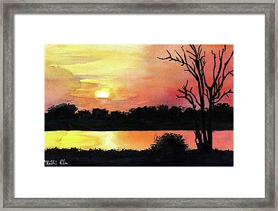 Framed Print featuring the painting Sunset At Shire River In Malawi by Dora Hathazi Mendes
