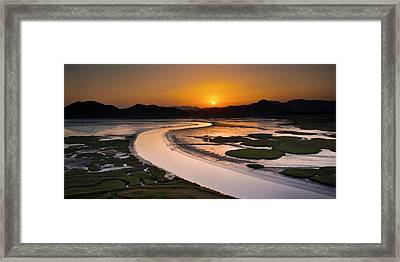 Sunset At Suncheon Bay Framed Print