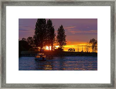 Sunset At Sunset Beach In Vancouver Bc Framed Print