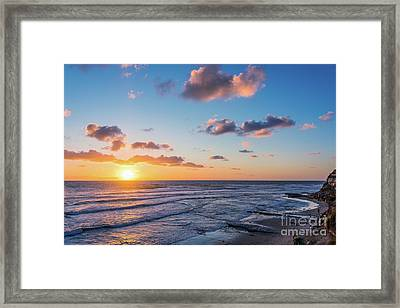 Sunset At Swami's Beach  Framed Print