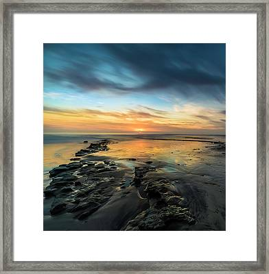 Sunset At Swamis Beach Framed Print