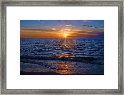 Sunset At The Beach In Naples, Fl Framed Print