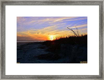 Sunset At The Beach Framed Print by Lisa Wooten