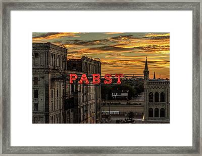 Sunset At The Brewery Framed Print by Randy Scherkenbach