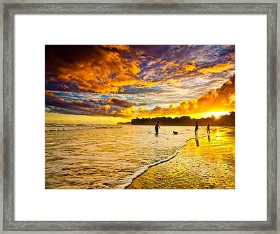 Sunset At The Coast Framed Print by Iris Greenwell